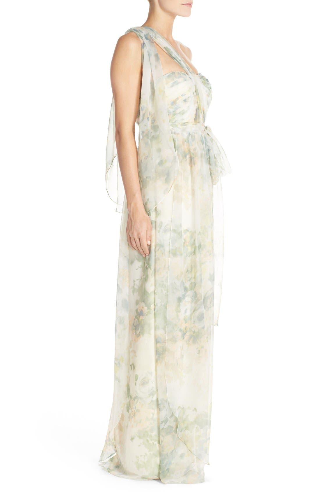 ,                             Nyla Floral Print Convertible Strapless Chiffon Gown,                             Alternate thumbnail 15, color,                             110