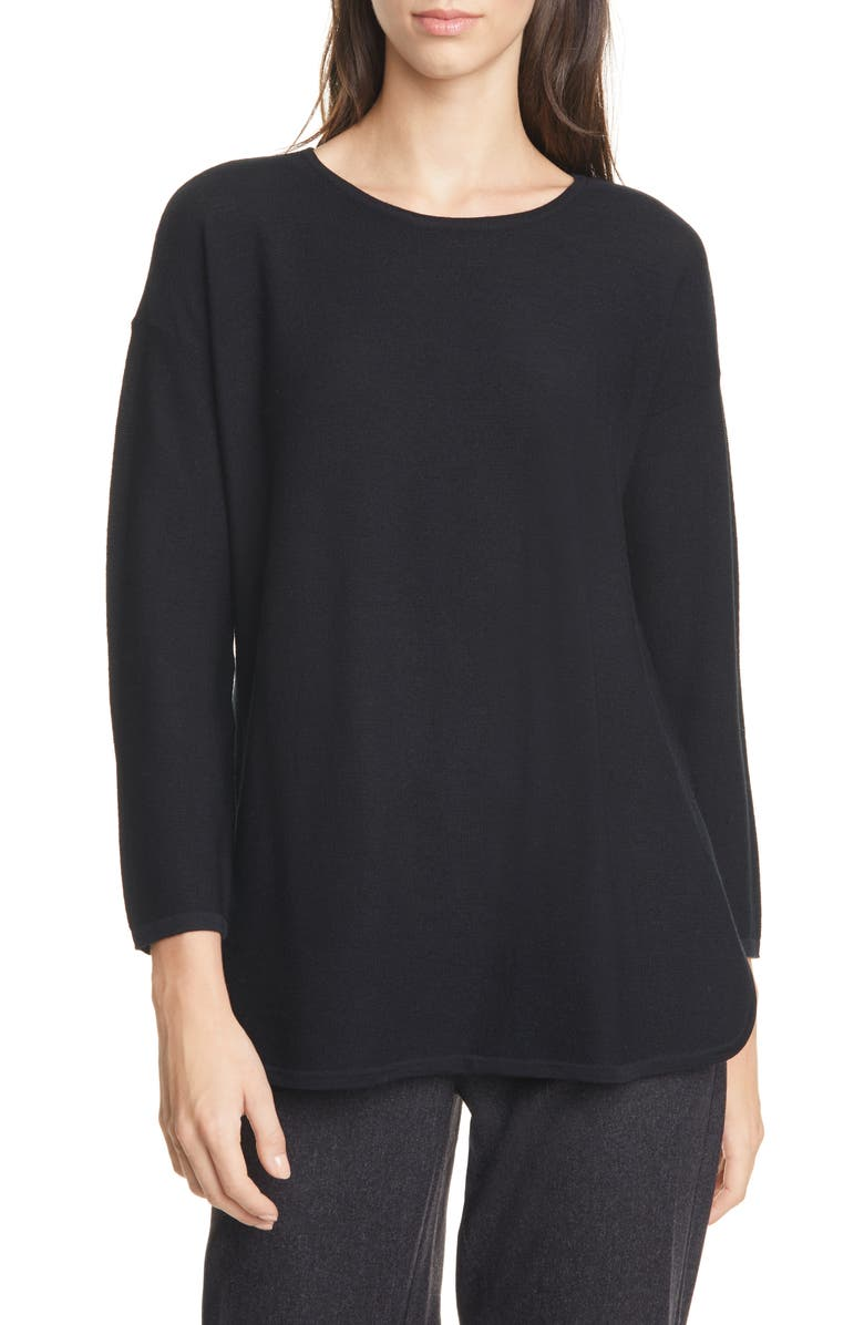 EILEEN FISHER Merino Wool Tunic, Main, color, BLACK