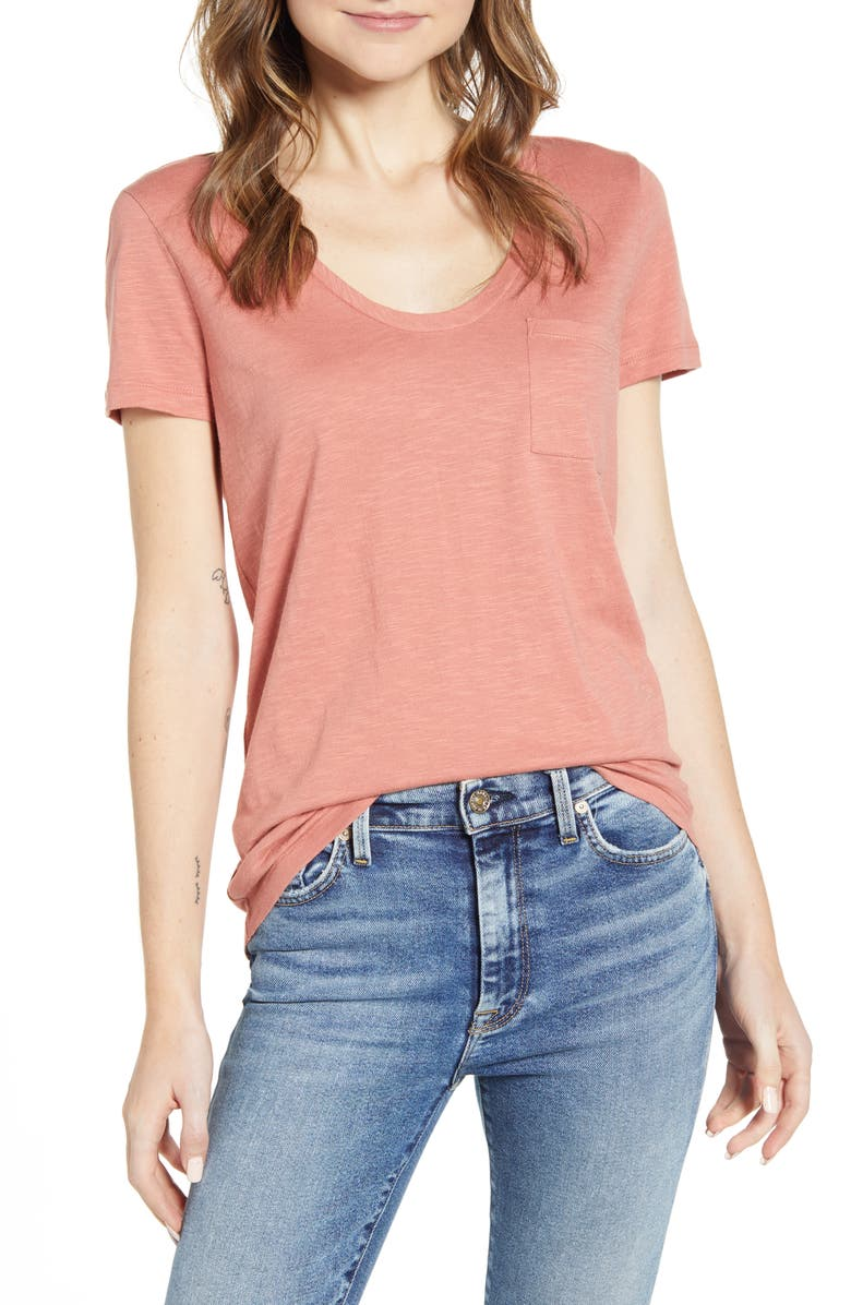 CASLON<SUP>®</SUP> Rounded V-Neck Tee, Main, color, PINK CANYON