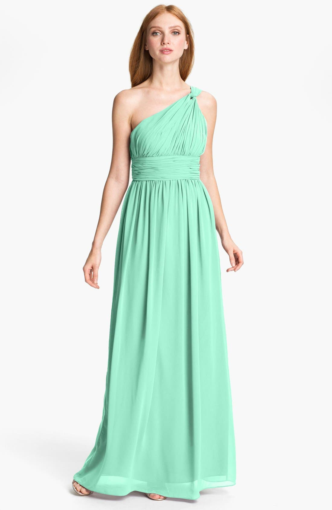 ,                             'Rachel' Ruched One-Shoulder Chiffon Gown,                             Main thumbnail 29, color,                             300