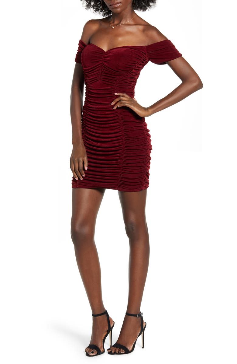 ROW A Off the Shoulder Minidress, Main, color, BURGUNDY