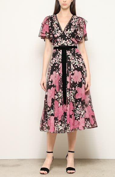Embroidered Flutter Sleeve Midi Dress, video thumbnail