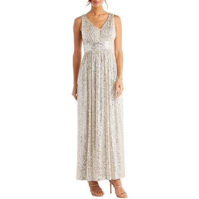 Morgan & Co. Sequin A-Line Gown, Beige