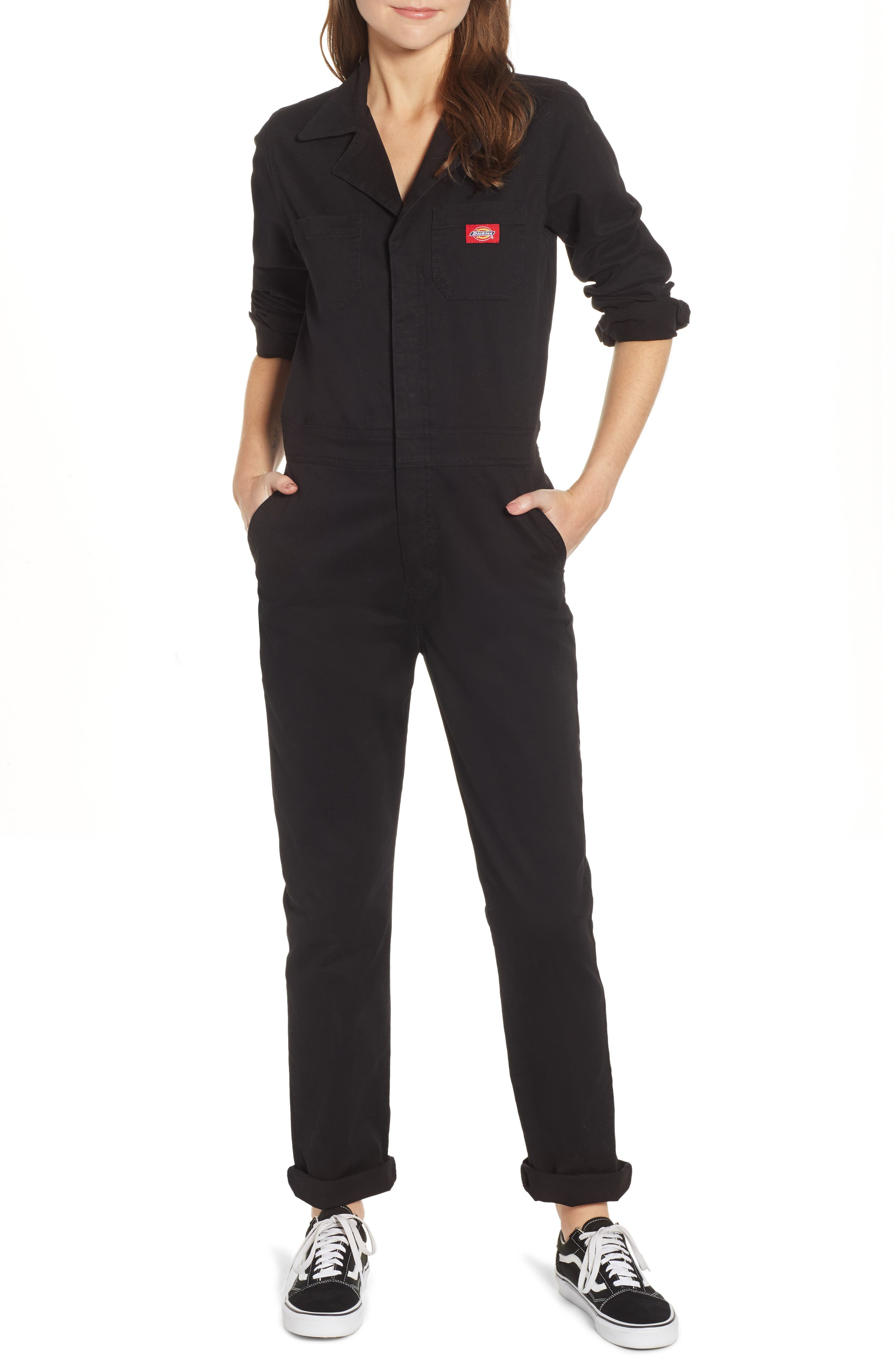 Dickies Girl Juniors/' Button Front Coveralls in Black