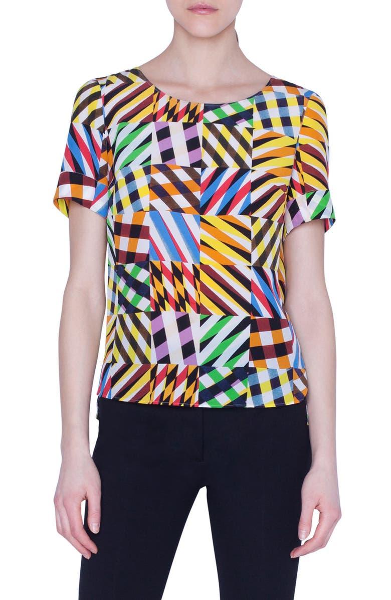 AKRIS PUNTO Patchwork Print Silk Blouse, Main, color, PATCHWORK ALLOVER