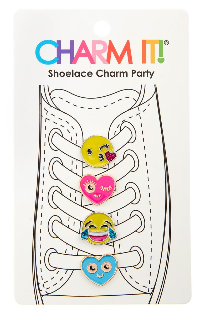 CHARM IT!<SUP>®</SUP> 4-Pack Emoji Glitter Shoelace Charms, Main, color, 700
