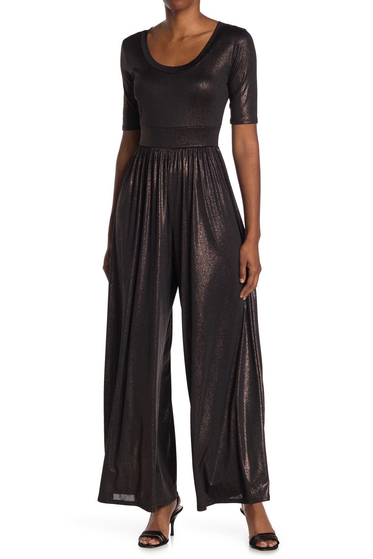 Image of WEST KEI Metallic Knit Scoop Neck Jumpsuit