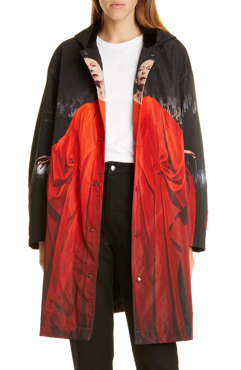 UNDERCOVER Suspiria Print Faux Shearling Lined Hooded Raincoat, Main, color, A BLACK BASE