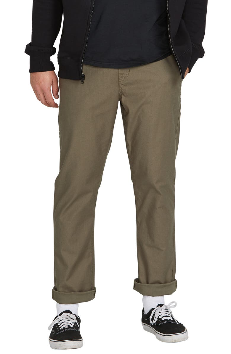 VOLCOM Riser Relaxed Fit Comfort Chinos, Main, color, ARMY GREEN COMBO