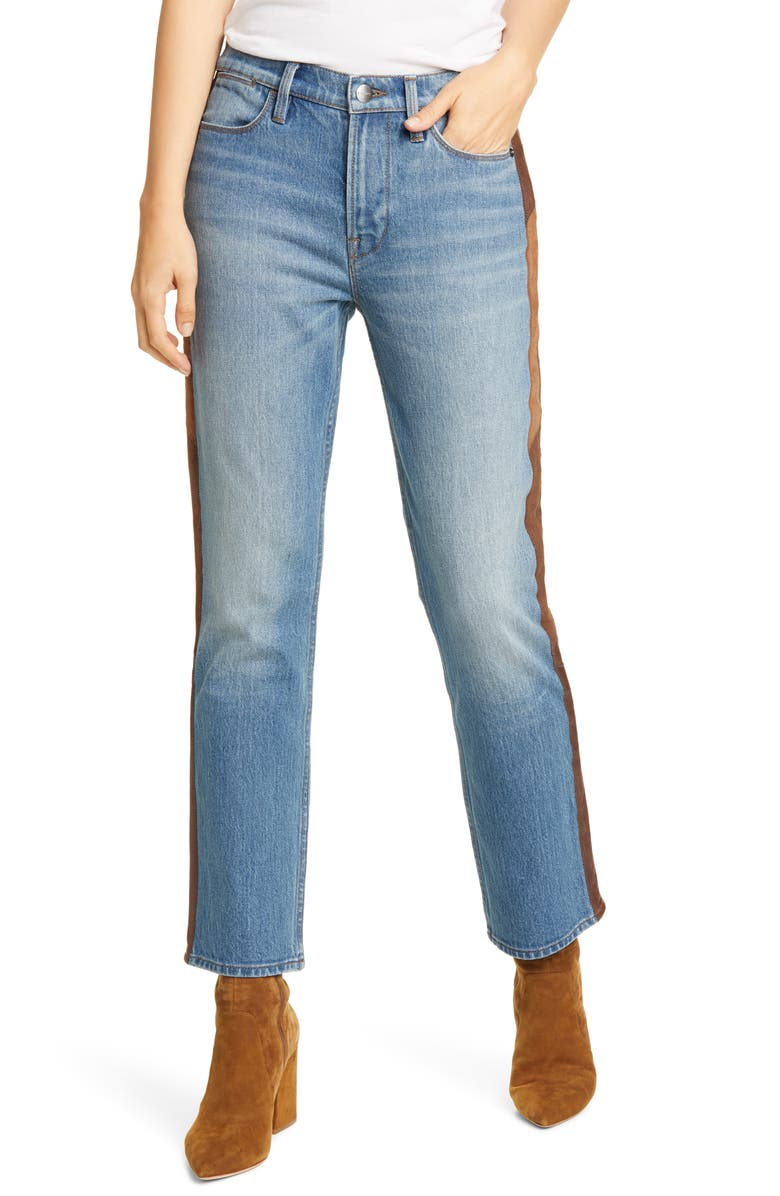 FRAME Le High Straight Side Panel Jeans, Main, color, DESMOND