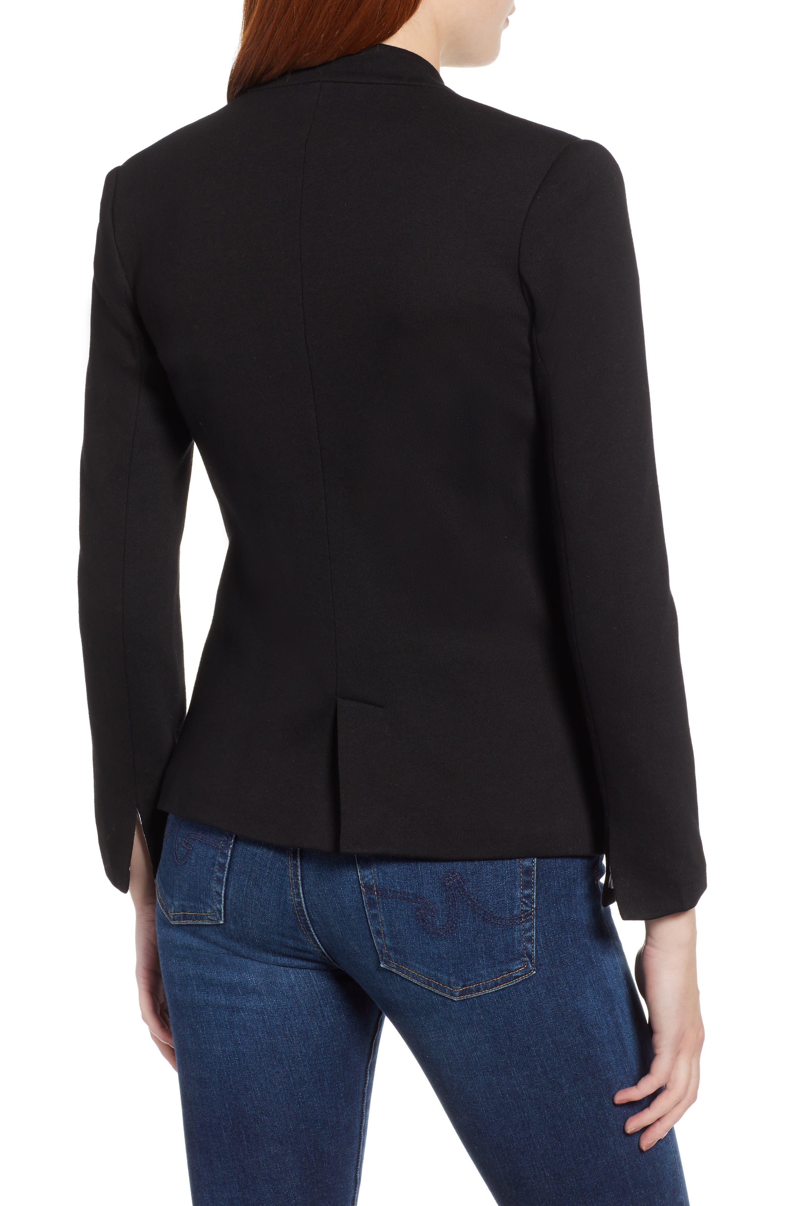 ,                             Notch Collar Cotton Blend Blazer,                             Alternate thumbnail 2, color,                             BLACK