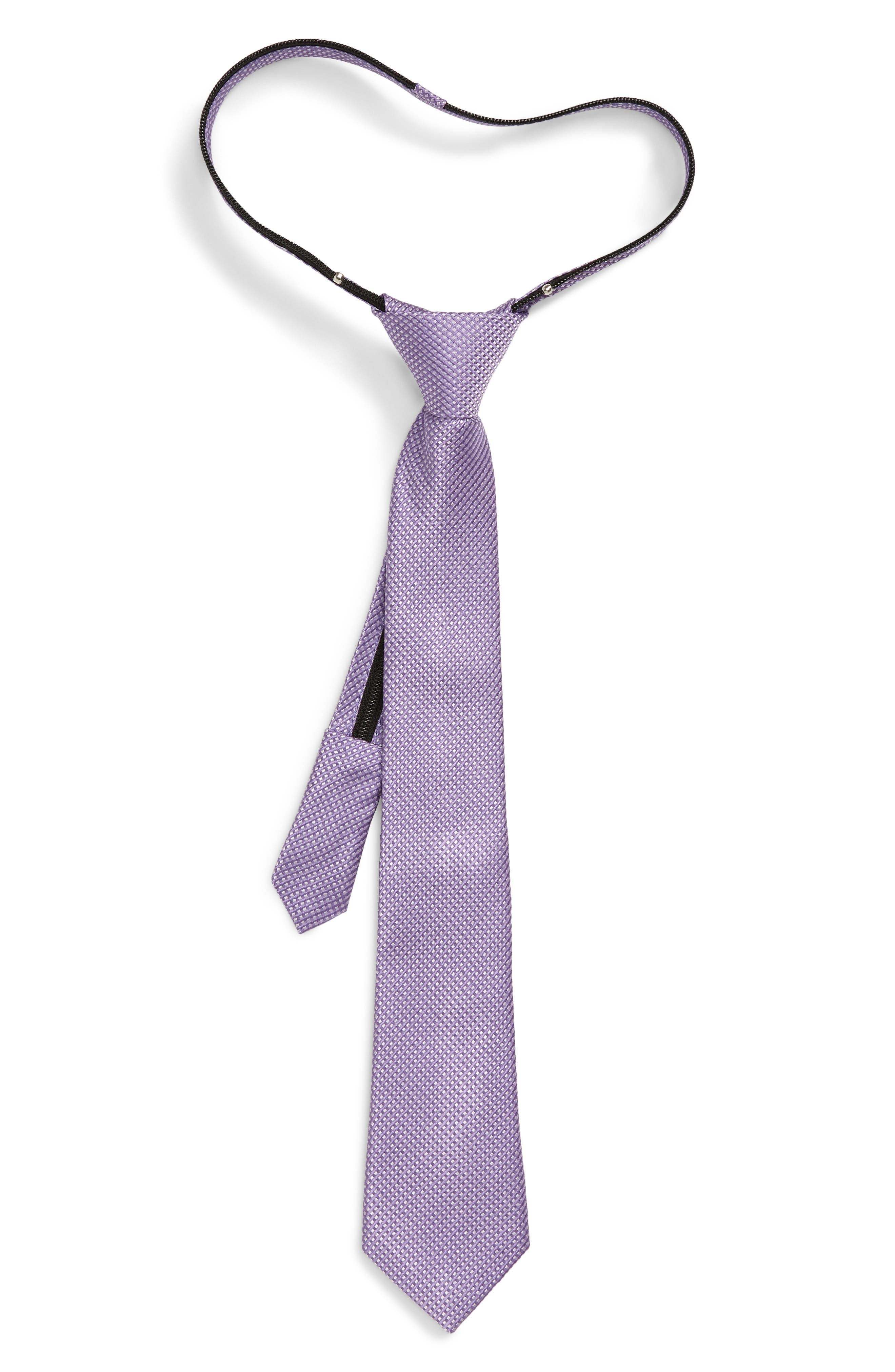 Boys Nordstrom Owen Grid Silk Zip Tie Size Big Boy  Purple
