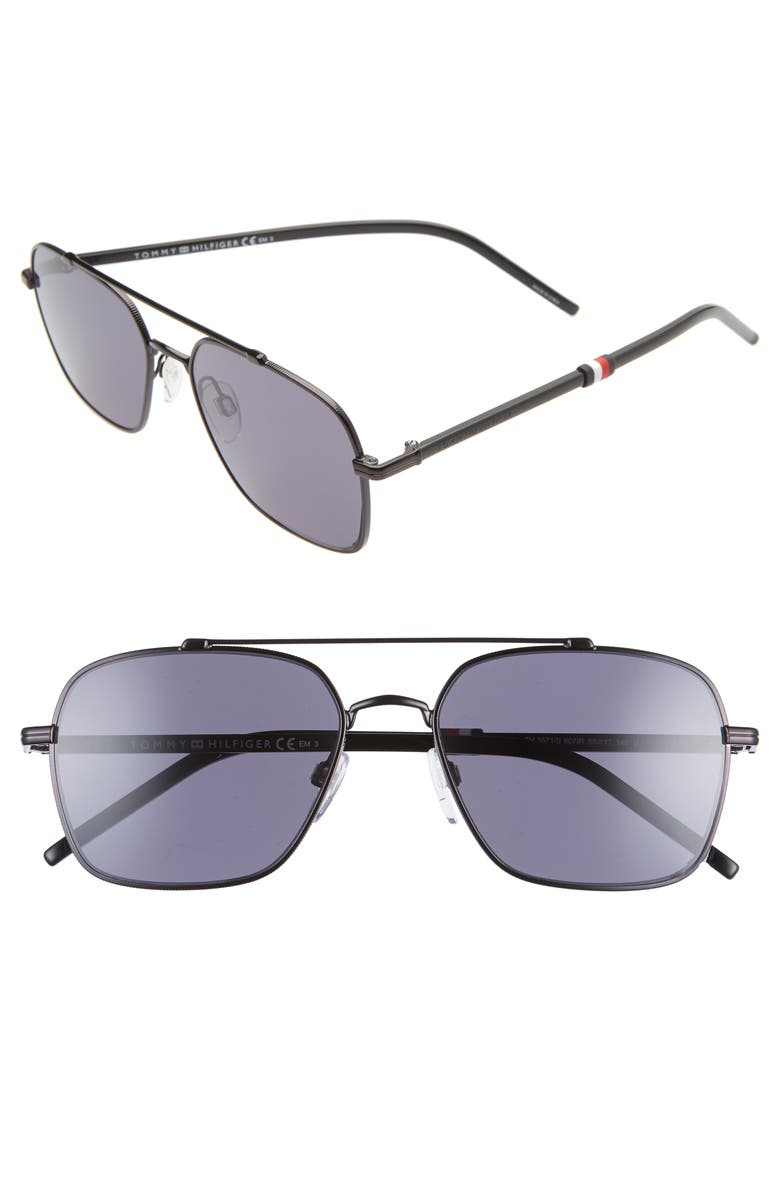 TOMMY HILFIGER 55mm Aviator Sunglasses, Main, color, BLACK/ GREY BLUE