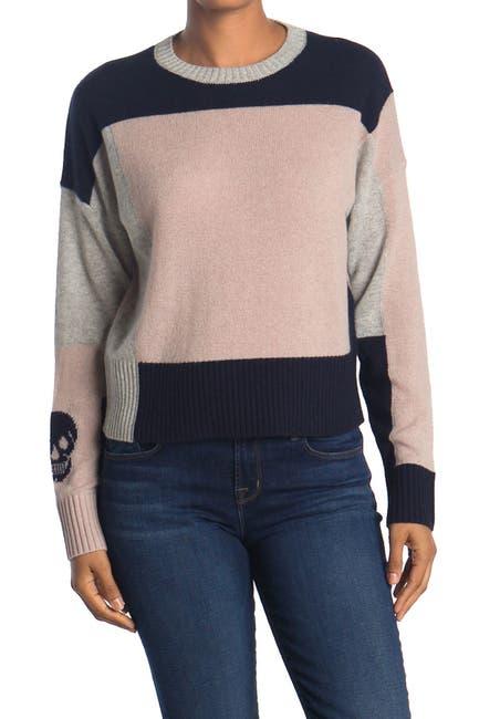 Image of SKULL CASHMERE Lisa Colorblock Skull Print Cashmere Sweater