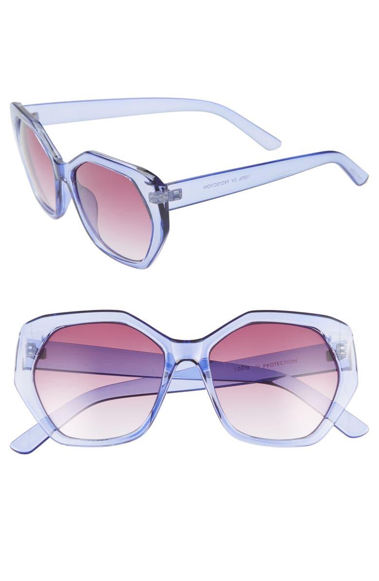 LEITH 55mm Translucent Sunglasses, Main, color, Purple