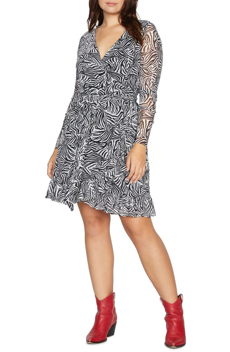 SANCTUARY Emma Print Long Sleeve Wrap Dress, Main, color, BLACK ZEBRA