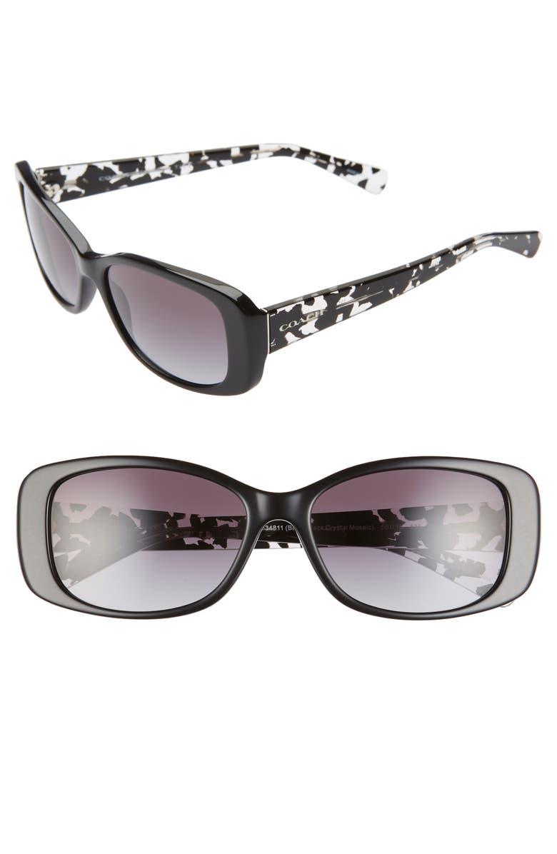 COACH 56mm Rectangle Sunglasses, Main, color, BLACK/ PRINT/ BLACK GRADIENT