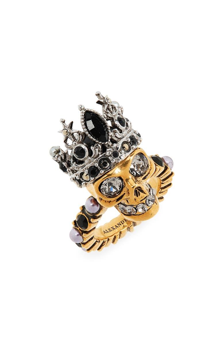 ALEXANDER MCQUEEN Skull Queen Ring, Main, color, GREY