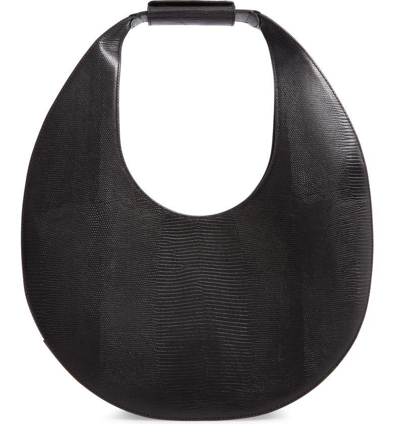 STAUD Large Moon Leather Bag, Main, color, BLACK