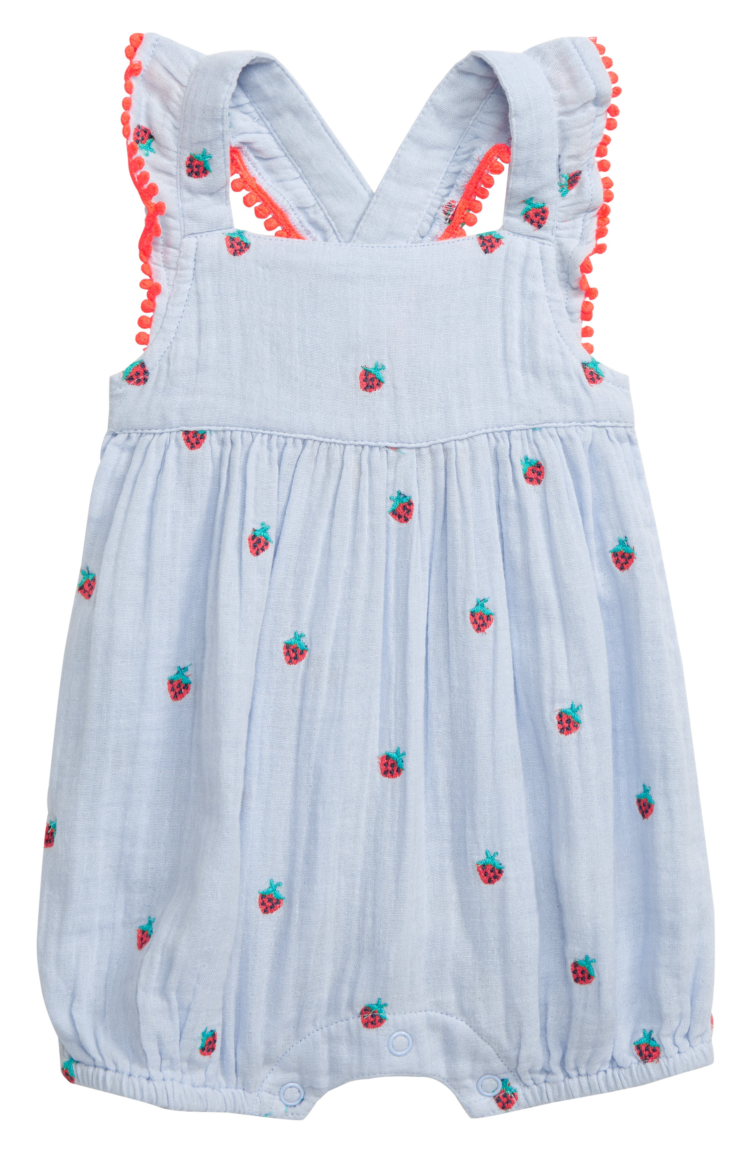 Infant Girls Mini Boden Strawberry Embroidered Romper