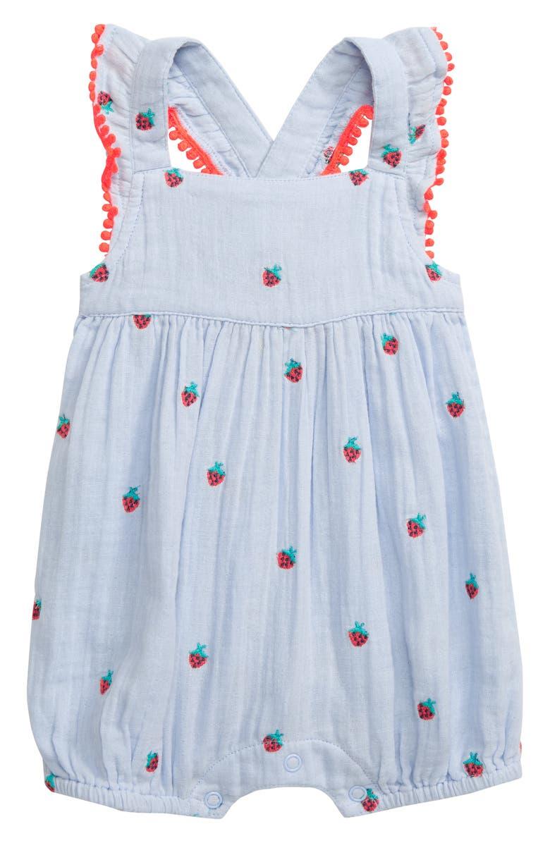 MINI BODEN Strawberry Embroidered Romper, Main, color, 400