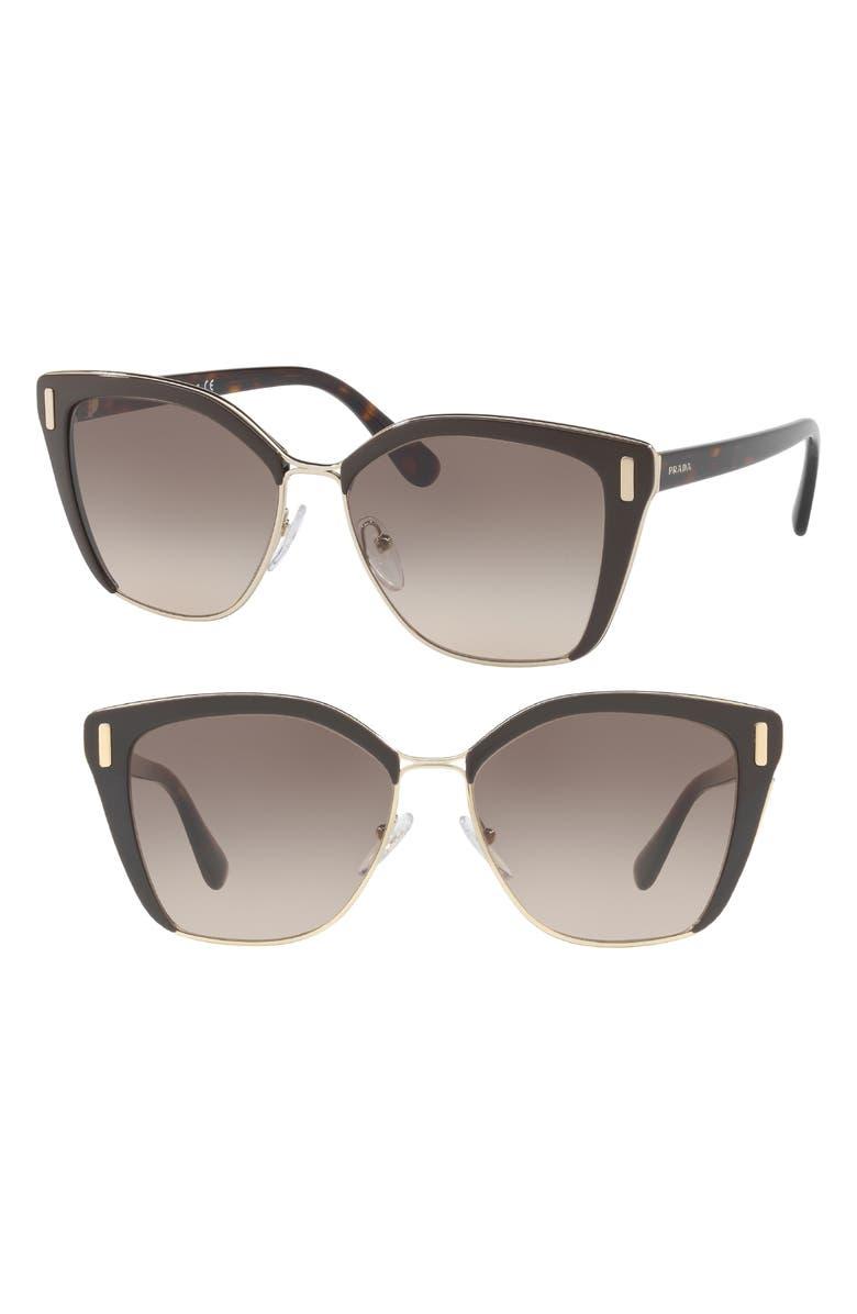 PRADA 57mm Gradient Geometric Sunglasses, Main, color, BROWN