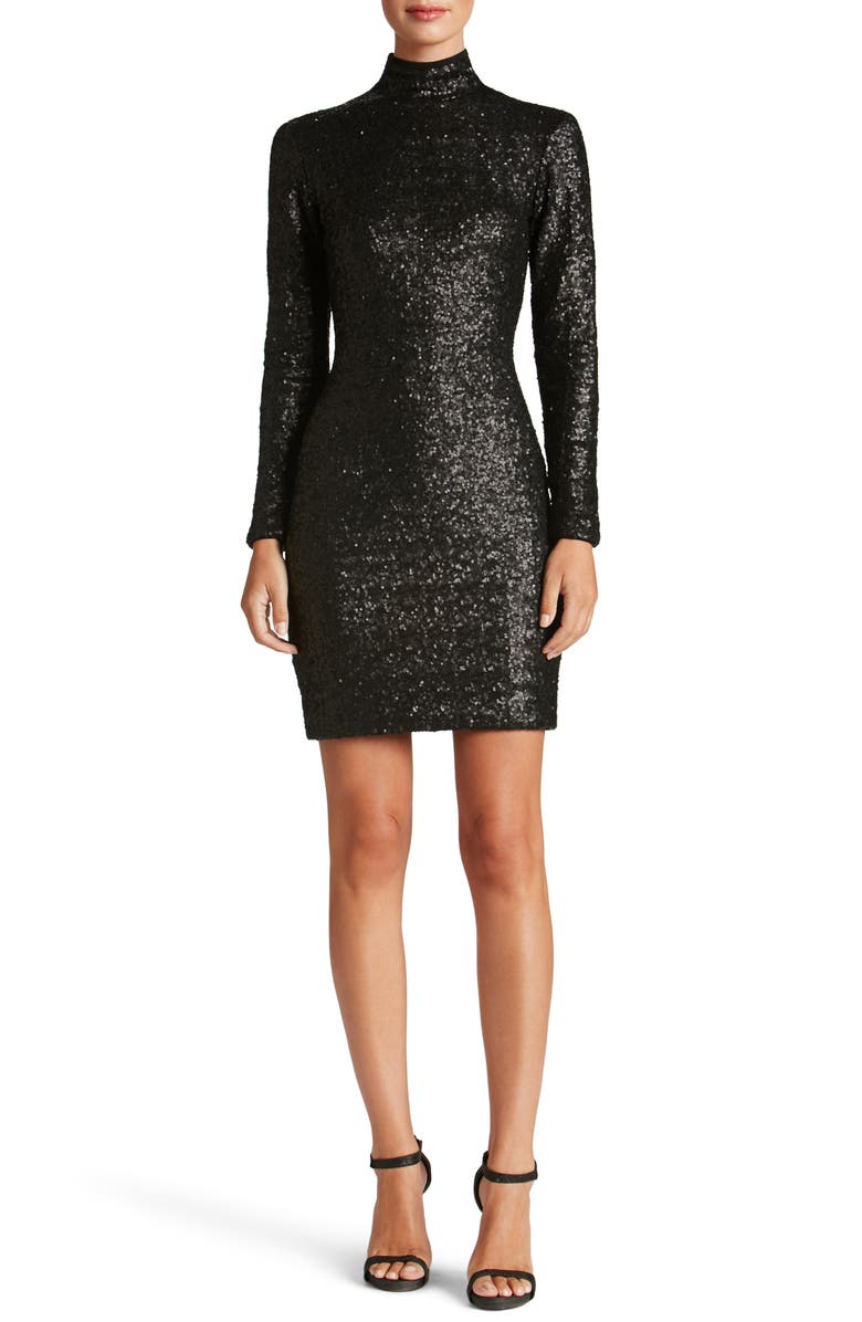 DRESS THE POPULATION Janis Sequin Body-Con Dress, Main, color, 018
