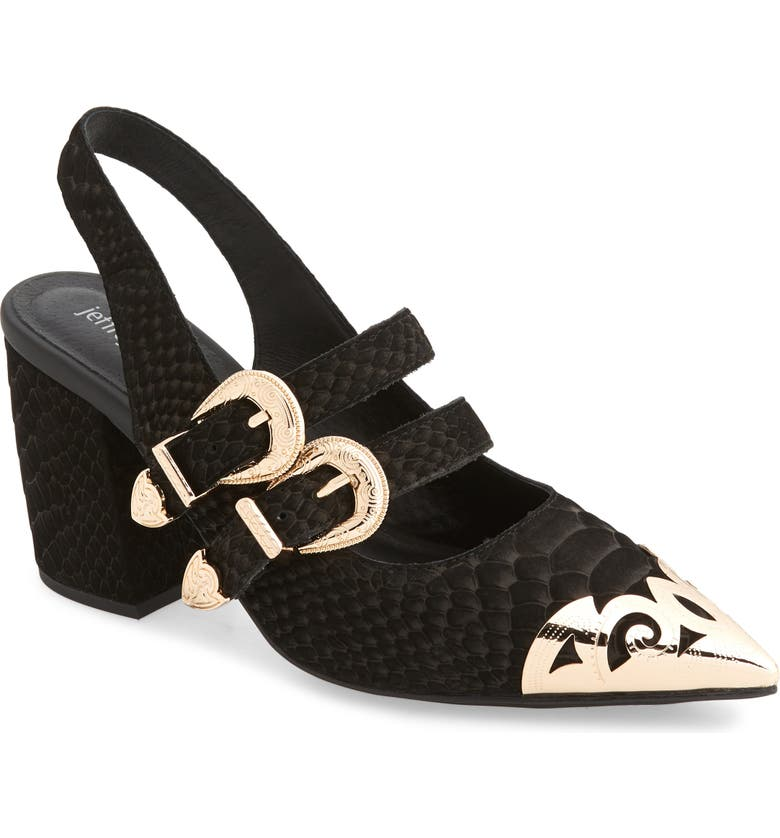 JEFFREY CAMPBELL Walter Slingback Pump, Main, color, BLACK MATTE SNAKE GOLD