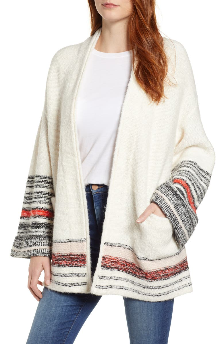 CASLON<SUP>®</SUP> Stripe Detail Cardigan, Main, color, IVORY COMBO