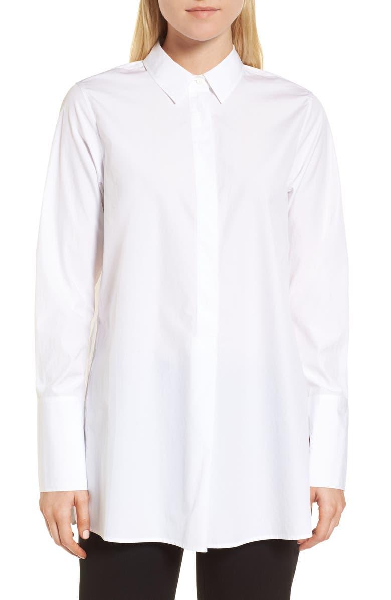 NORDSTROM SIGNATURE Popover Poplin Shirt, Main, color, 100