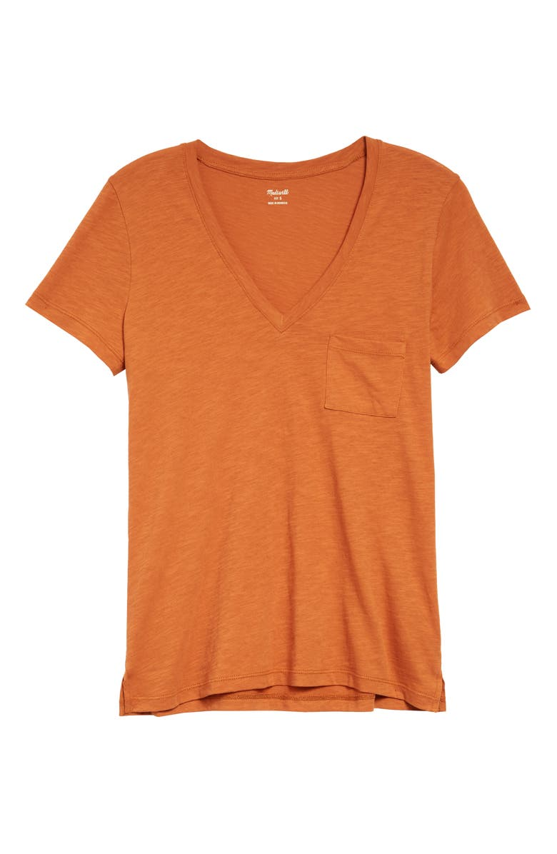 MADEWELL Whisper Cotton V-Neck Pocket Tee, Main, color, MULLED CIDER