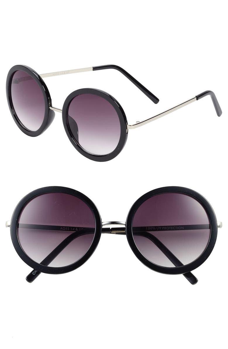 FANTASEYES Fantas Eyes Round 51mm Sunglasses, Main, color, 001