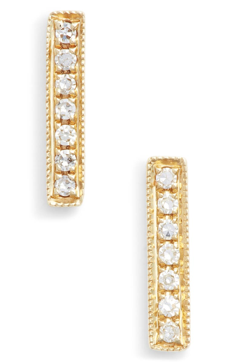 DANA REBECCA DESIGNS Sylvie Rose Diamond Bar Stud Earrings, Main, color, YELLOW GOLD