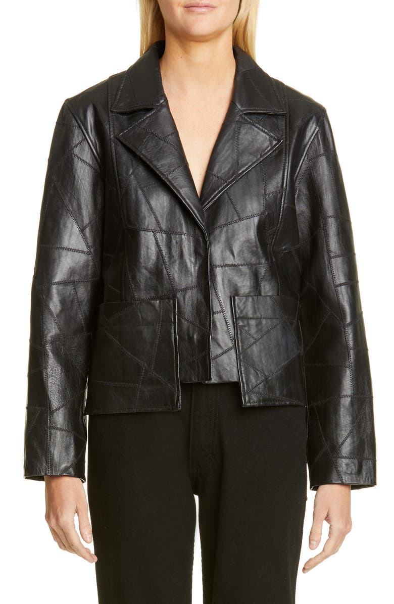 GANNI Patchwork Leather Jacket, Main, color, BLACK