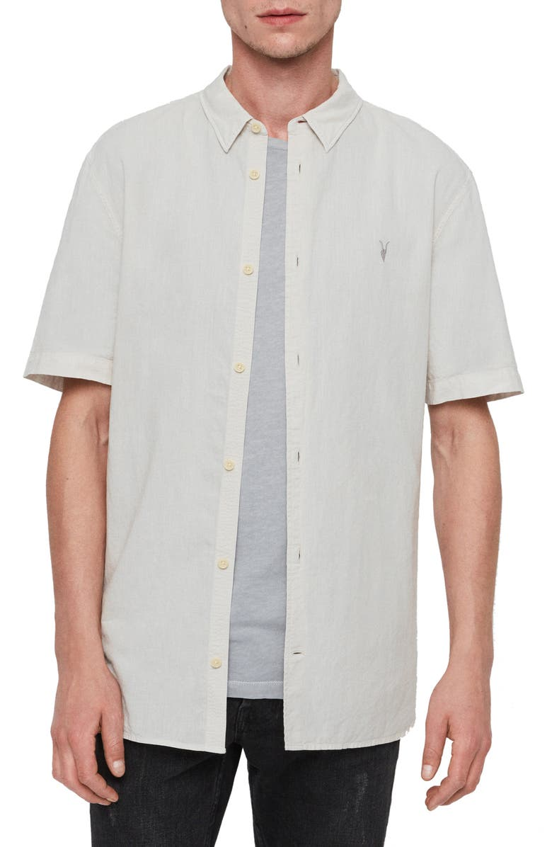 ALLSAINTS Wayland Slim Fit Linen Blend Short Sleeve Button-Up Shirt, Main, color, BEIGE