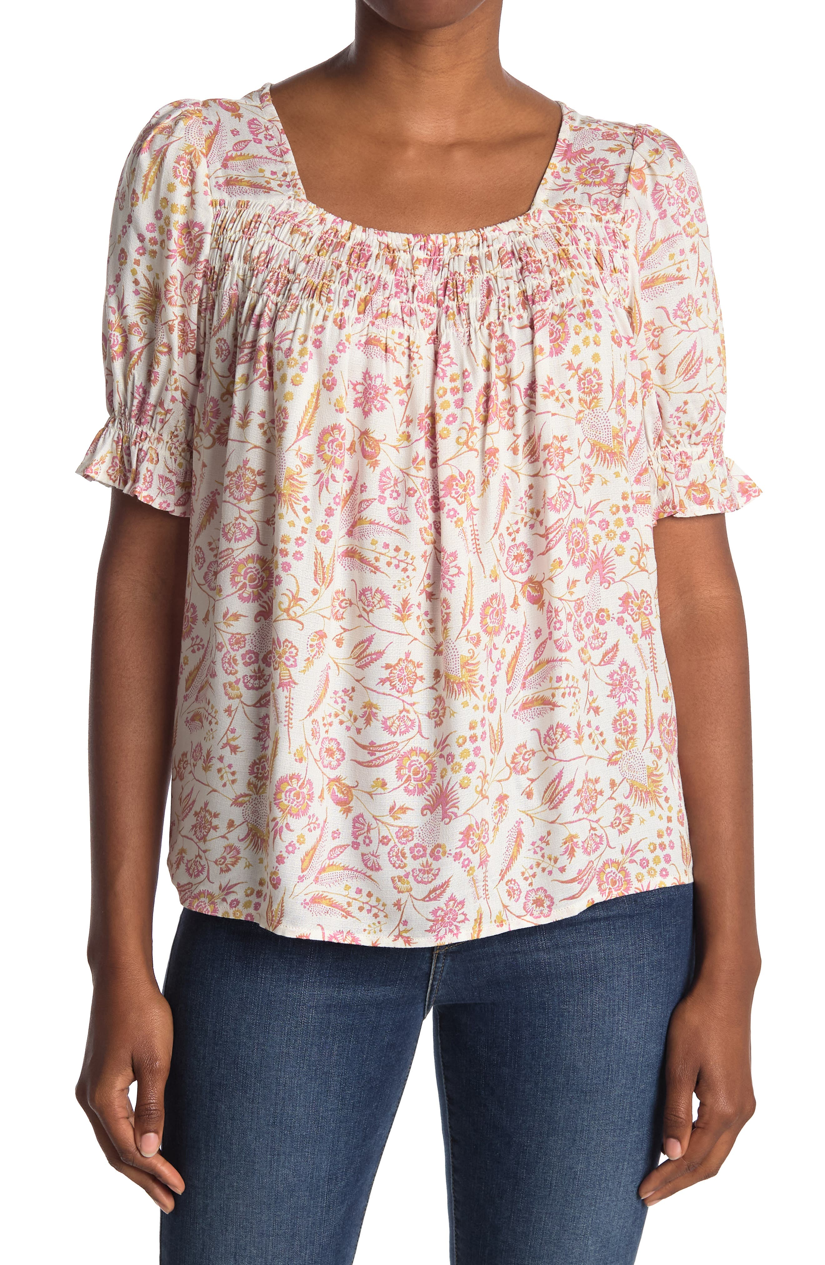 Cottagecore Clothing, Soft Aesthetic Lucky Brand Floral Smocked Crepe Blouse Size XL - Cream Mult at Nordstrom Rack $34.97 AT vintagedancer.com