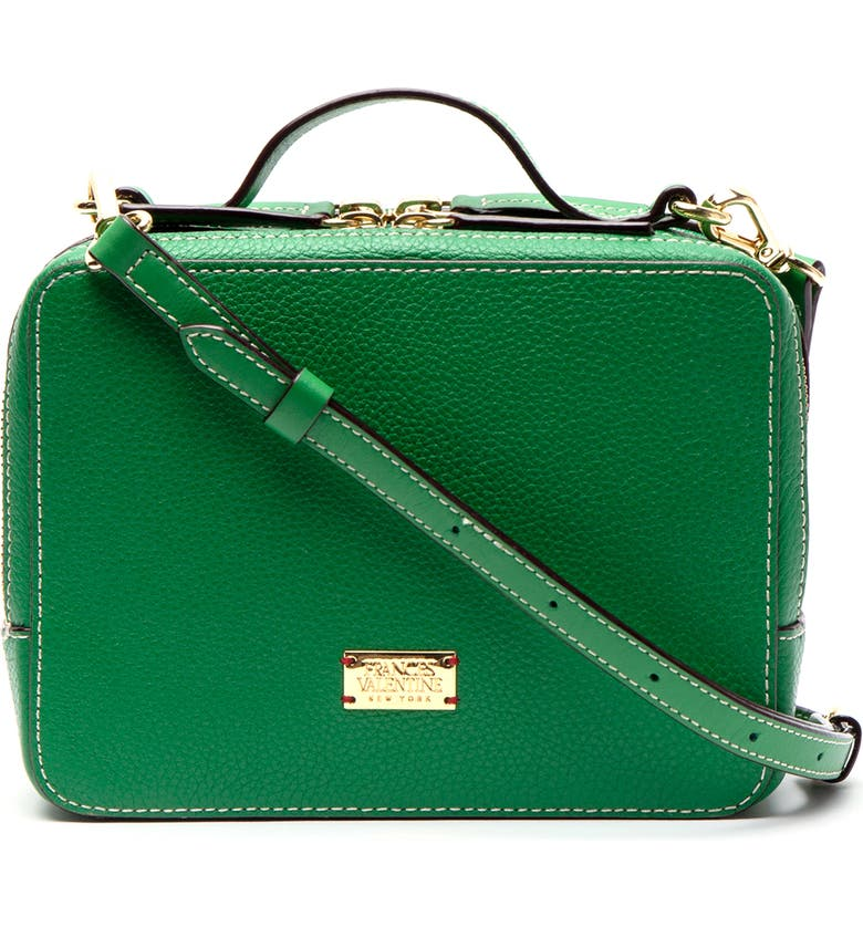 FRANCES VALENTINE Tumbled Leather Crossbody Bag, Main, color, GREEN