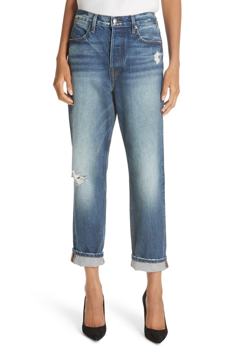 FRAME Le Pegged Cuffed Crop Jeans, Main, color, 401