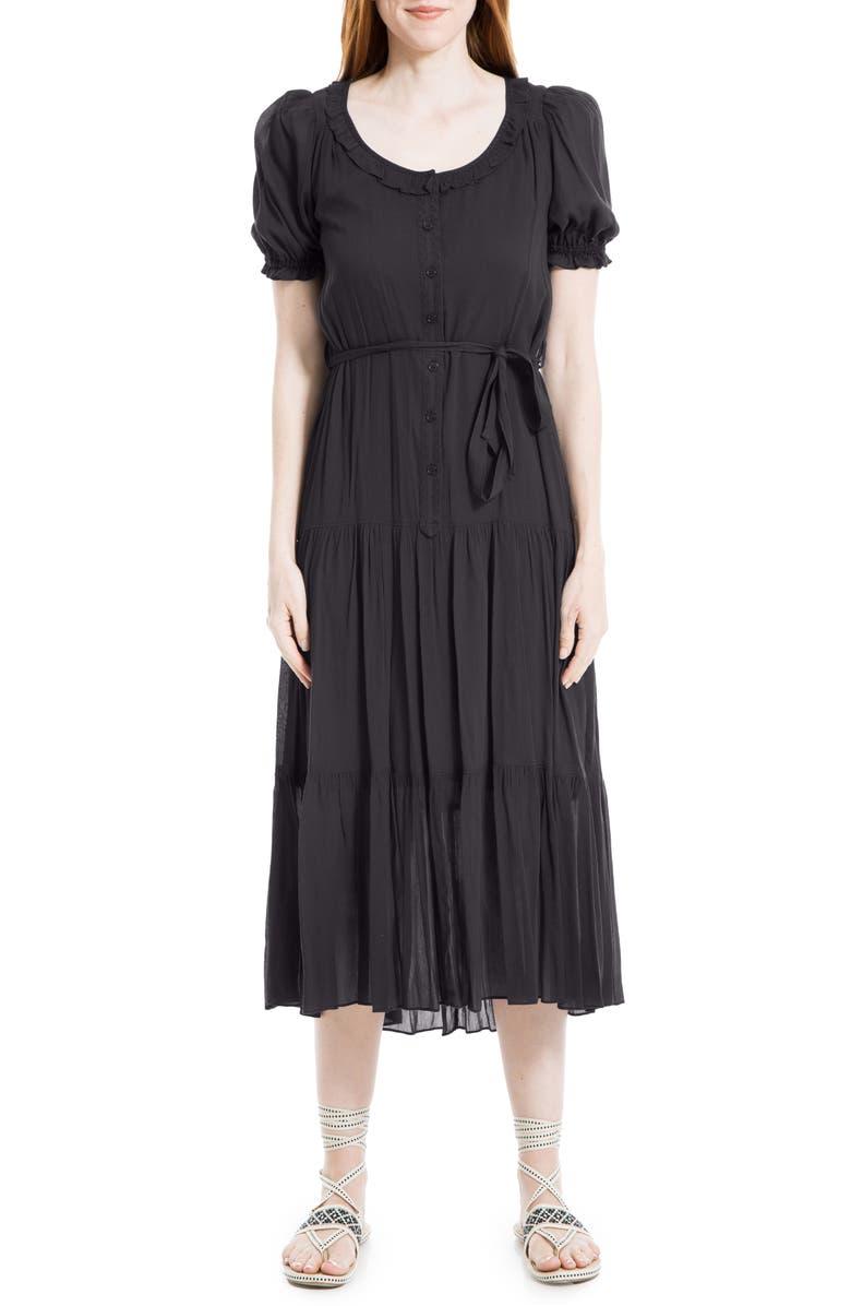 MAX STUDIO Puff Sleeve Tiered Midi Dress, Main, color, 001