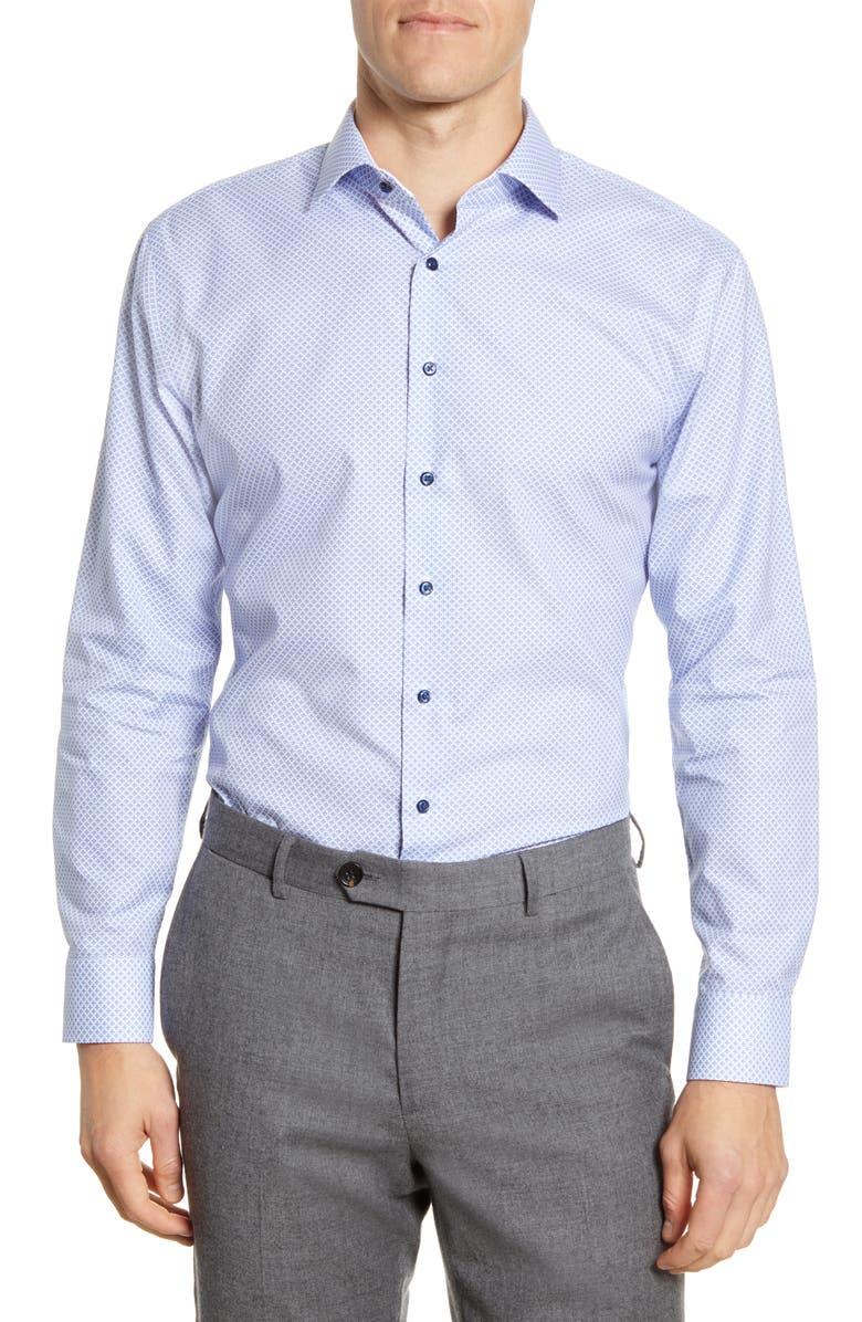 NORDSTROM MEN'S SHOP Trim Fit Non-Iron Floral Dress Shirt, Main, color, BLUE BRUNNERA