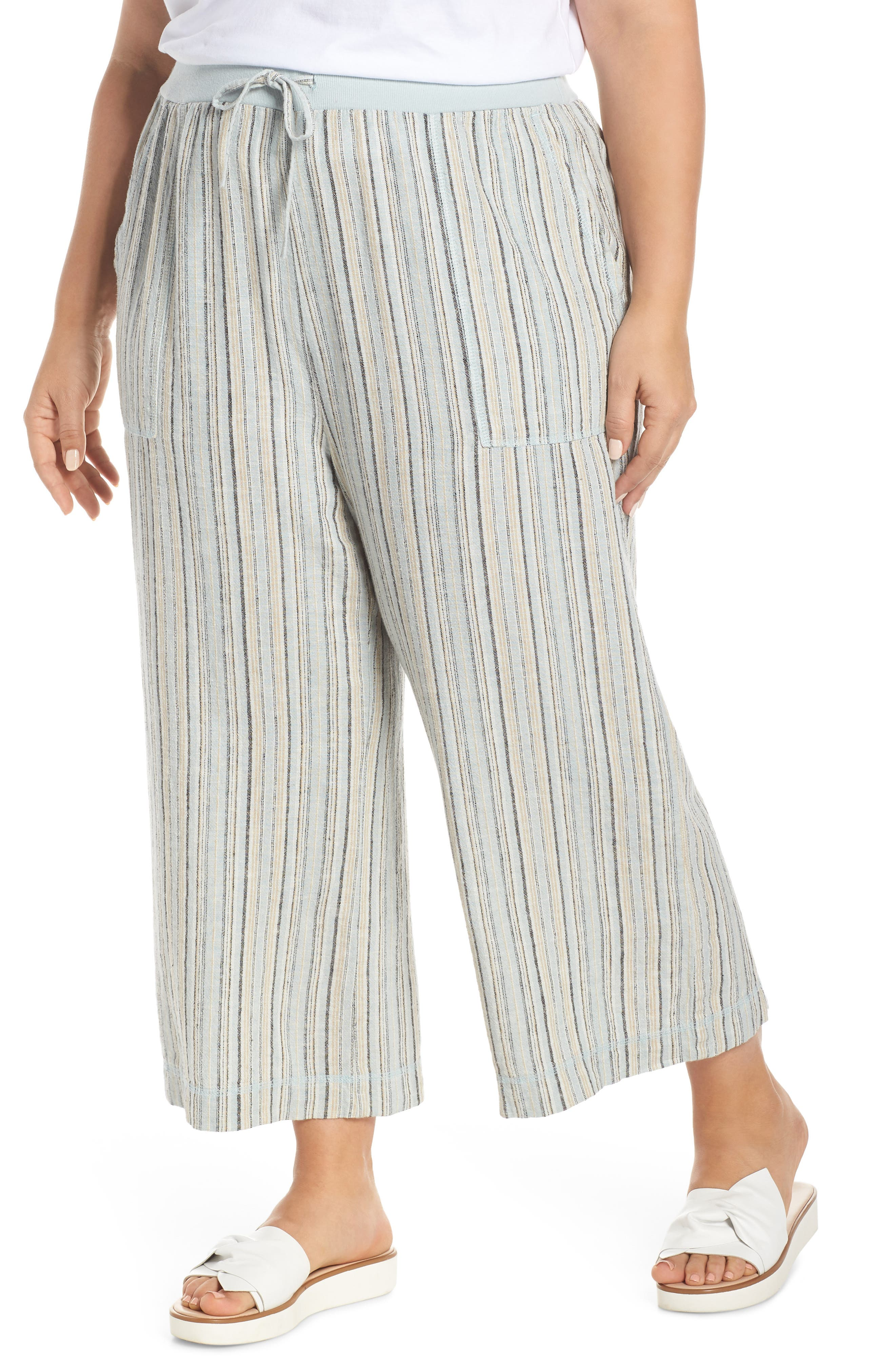 ,                             Stripe Crop Linen Blend Pants,                             Alternate thumbnail 4, color,                             450