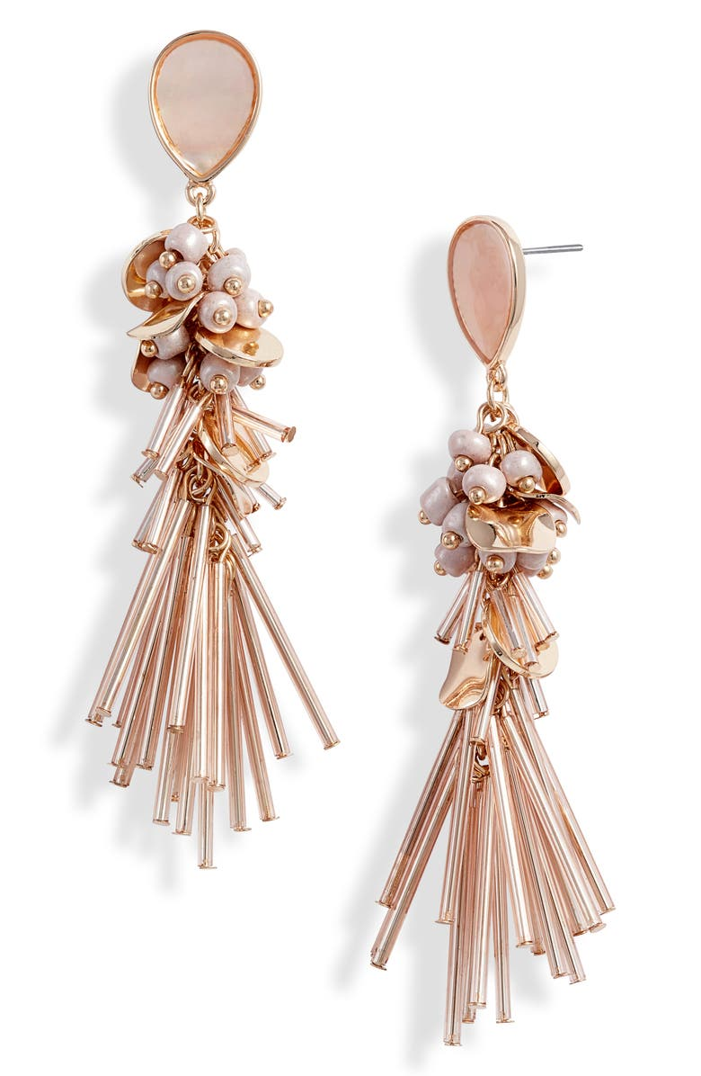 RACHEL PARCELL Beaded Linear Statement Earrings, Main, color, PINK- ROSE GOLD- GOLD