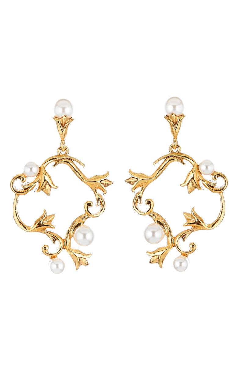 OSCAR DE LA RENTA Swarovski Pearl Tulip Hoop Earrings, Main, color, GOLD