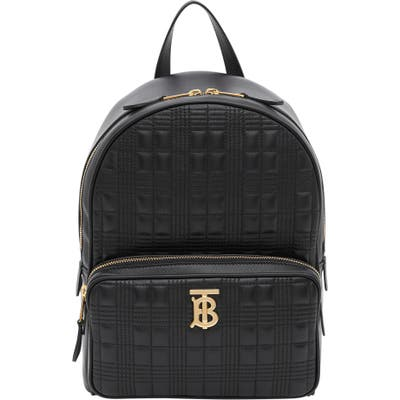 Burberry Tb Quilted Check Leather Backpack - Black