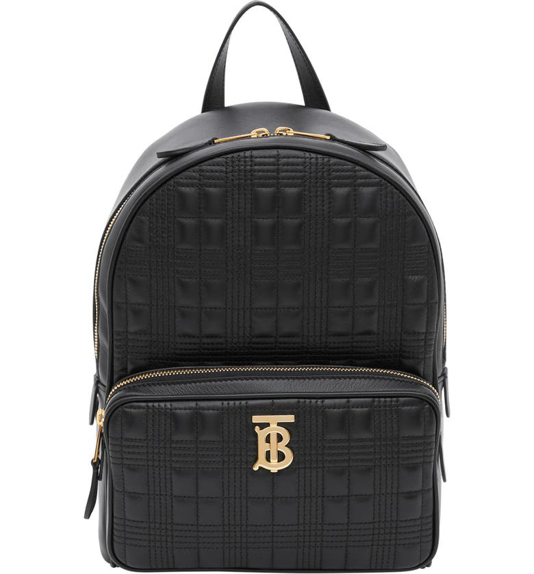 BURBERRY TB Quilted Check Leather Backpack, Main, color, BLACK