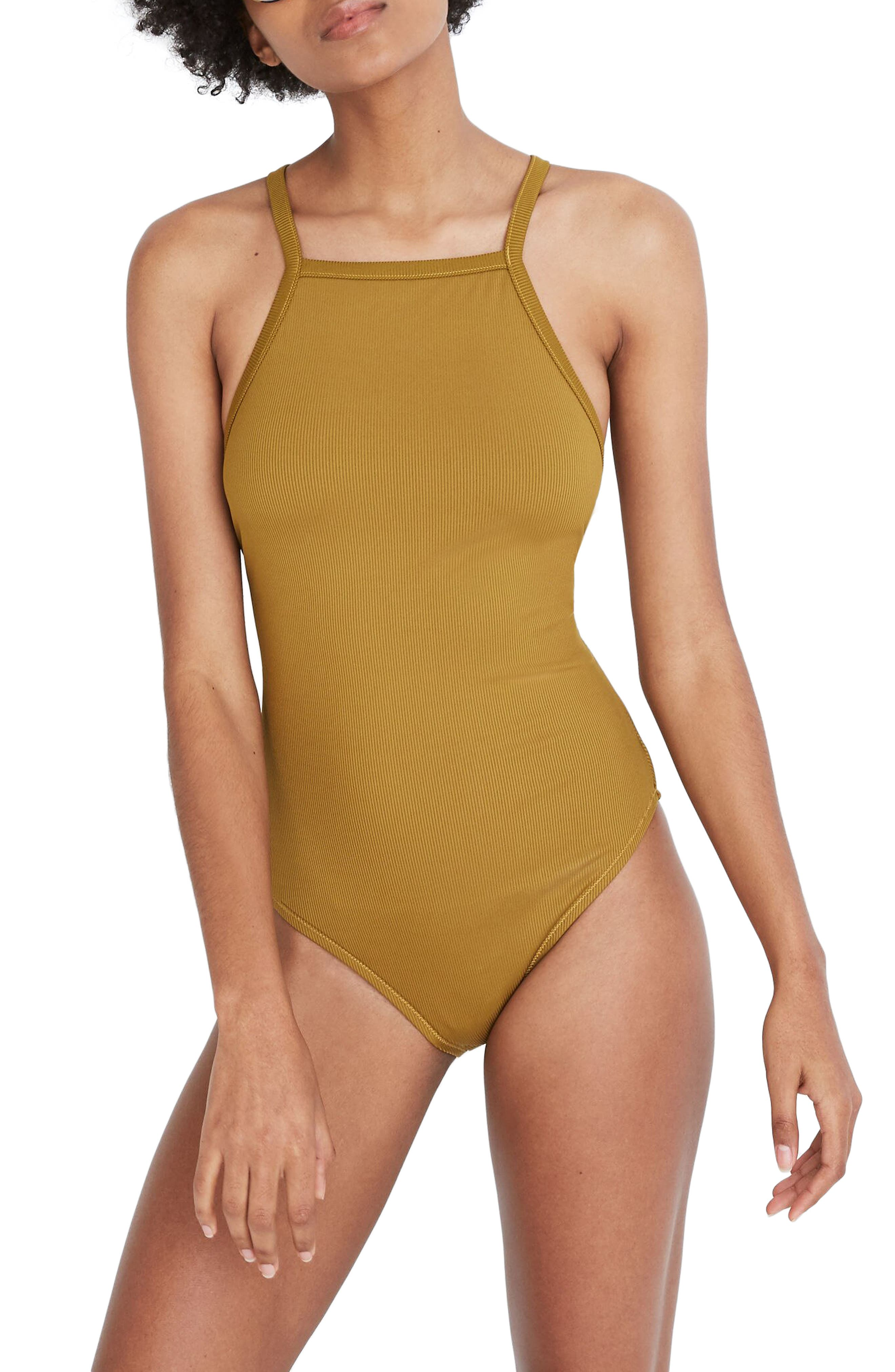 1800fa9341ef9 Madewell Second Wave Racerback Rib One-Piece Swimsuit, Green