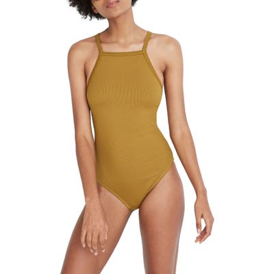 Madewell Second Wave Racerback Rib One-Piece Swimsuit, Green