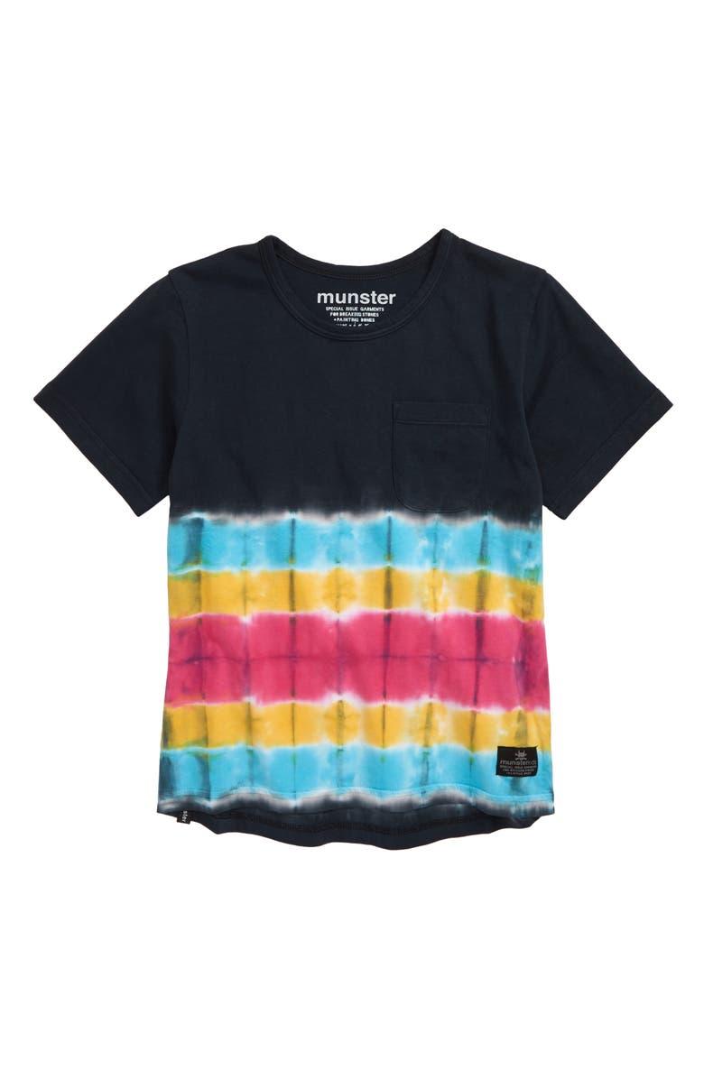 MUNSTERKIDS Monster Tie Dye T-Shirt, Main, color, BLUE/ BLACK/ PINK