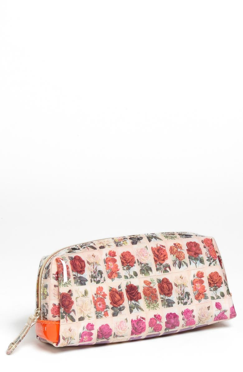 TED BAKER LONDON 'Roses in a Row - Small' Cosmetics Case, Main, color, 800