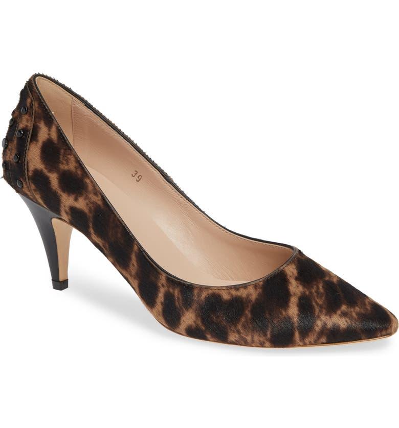 TOD'S Decollete Leopard Print Genuine Calf Hair Pump, Main, color, LEOPARD CALF HAIR